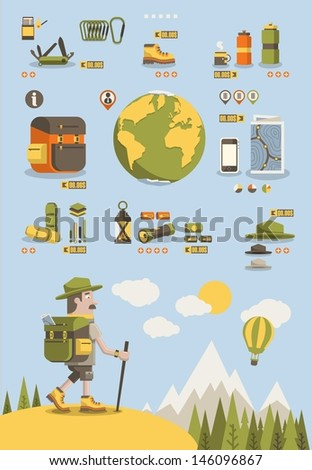 mountain background,hiking info graphic elements