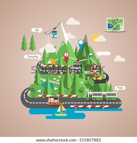 Mountain background, vector image with icons