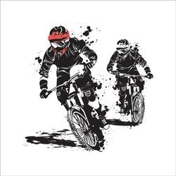 mountain bike downhill racing shilhouette