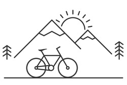 Mountain bike, hills, sun, trees, line icon. Nature tourism, travel, adventure, concept. Outdoor activity mountain biking. Summer holiday. Cycling landscape. Line art. Vector illustration, clip art.