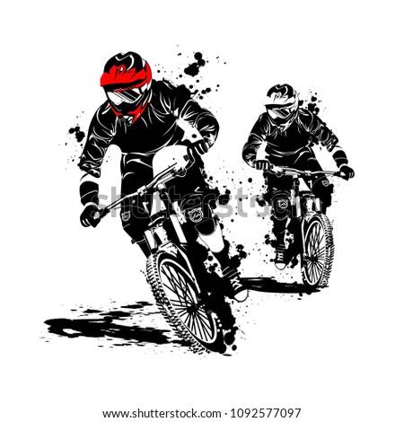 mountain bike race silhouette