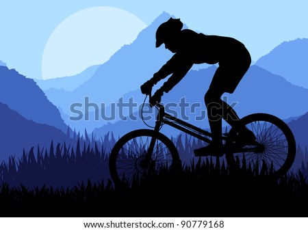 Mountain bike rider in wild mountain nature landscape background ...