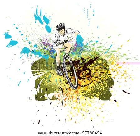 Mountain bike rider. MTB rider in white shirt, moving fast. Abstract ...