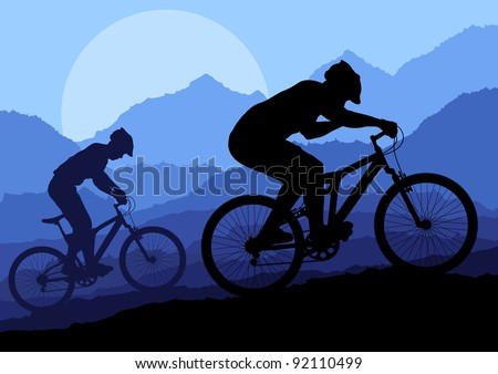 Mountain bike riders in wild nature landscape background illustration vector