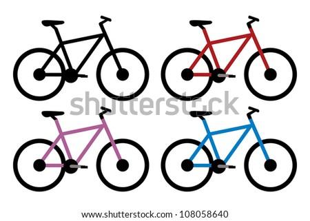 mountain bike set in black, red, blue and violet color