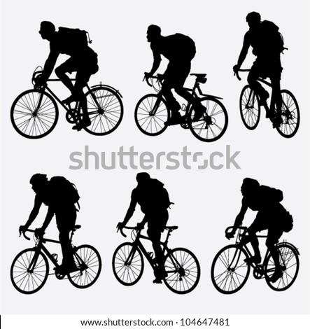 mountain bikers silhouette