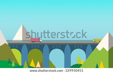 mountain bridge landscape