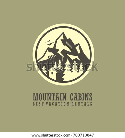 Mountain cabins and rentals round logo template with mountain landscape and wooden cabin. Adventure and hiking logo design concept.