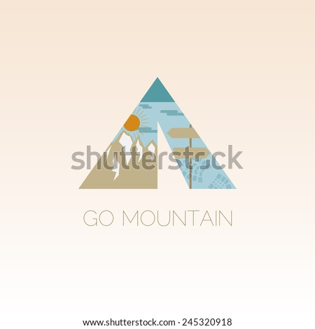 Mountain camp logo design template. Adventure symbol vector concept. Tent with landscape. Unique icon idea for recreation theme. Vector illustration.