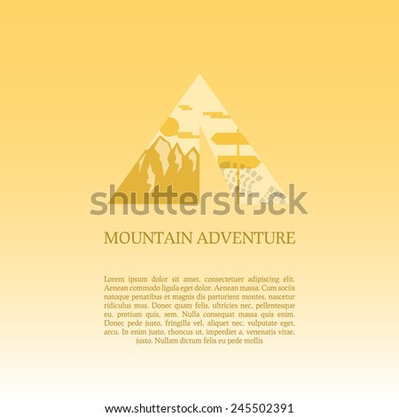 Mountain camp logo design template. Adventure symbol vector concept. Tent with landscape. Unique icon idea for recreation theme. Can be used as banner, poster, flyer etc. Vector illustration.