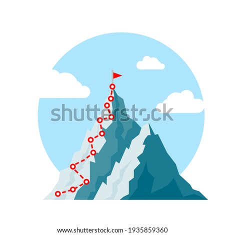 Mountain climb path challenge journey base infographic. Vector growth camp mountain climb way map