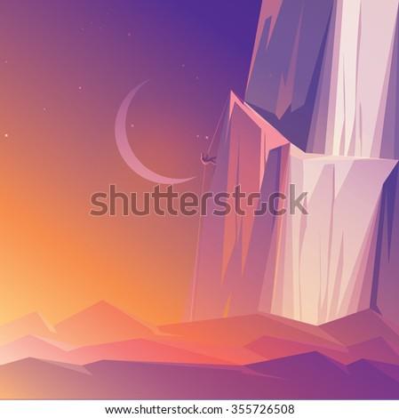 mountain climber at sunrise