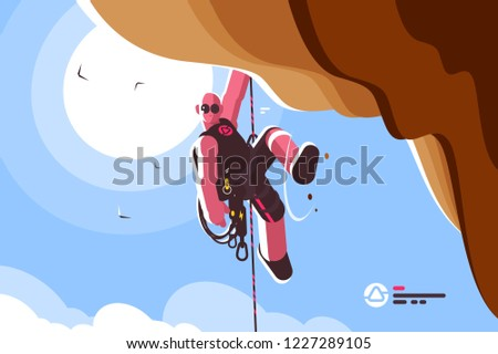 Mountain climber with special equipment vector illustration. Free mountaineer hanging down and holding on sheer cliff flat style concept. Blue sky and bright sun on background