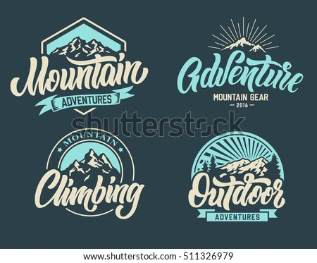 Mountain climbing adventure outdoor logo set