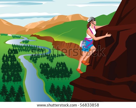 Mountain climbing and landscape vector