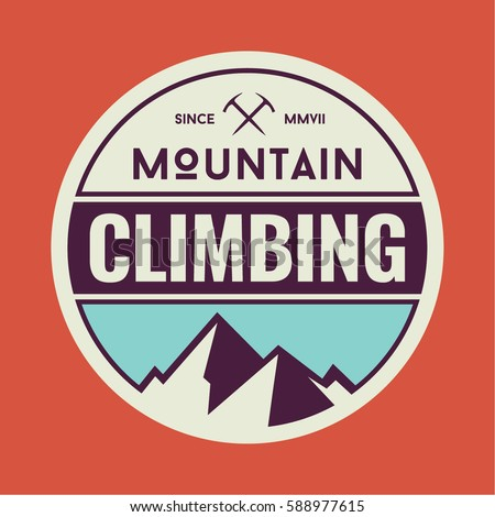 Mountain Climbing Circular Logo Badge #588977615