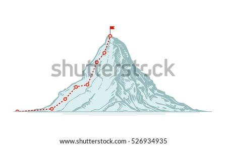 Mountain climbing route. Business vector illustration