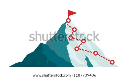 Mountain climbing route to peak in flat style. Business journey path in progress to success vector illustration. Mountain peak, climbing route to top rock illustration