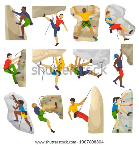 Mountain climbing vector climber climbs rock wall or mountainous cliff and people in extreme sport mountaineer character mounts set illustration of mountaineering isolated on white background