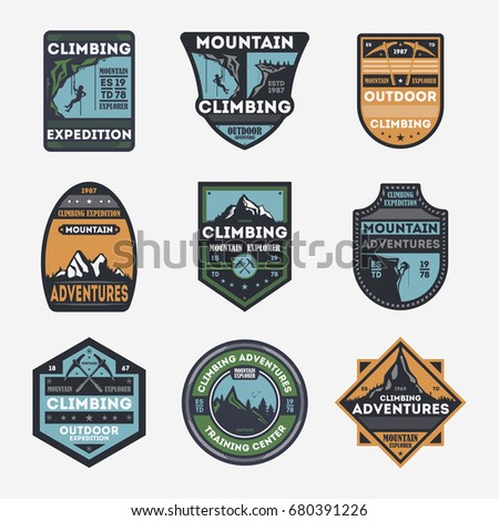 Mountain climbing vintage isolated label set. Outdoor adventure symbol, mountain explorer sign, touristic expedition badge, nature hiking and trekking logo. People travel activity vector illustration