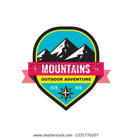 Mountain - concept badge vector illustration. Expedition explorer creative logo in flat style. Discovery outdoor adventure sign. Extreme exploration emblem. Mountaineering hiking. Graphic design.