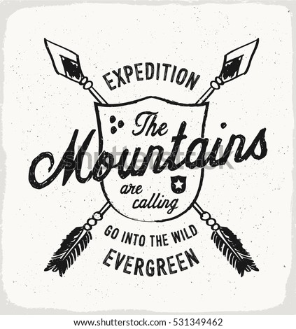 mountain evergreen print in...