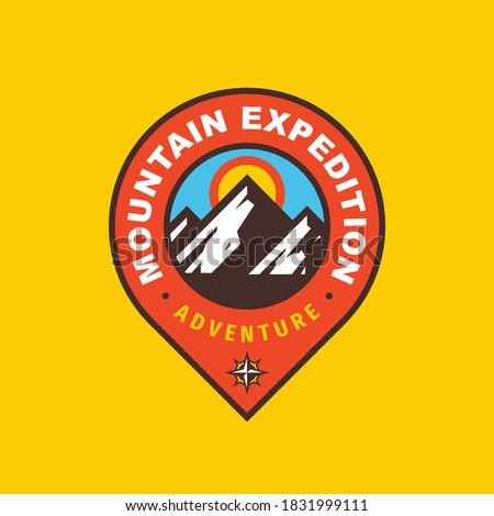 Mountain expedition badge design. Adventure traveling logo. Hiking Climbing emblem. Vector illustration.
