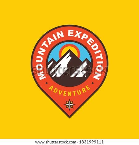 Mountain expedition badge design. Adventure traveling logo. Hiking Climbing emblem. Vector illustration.