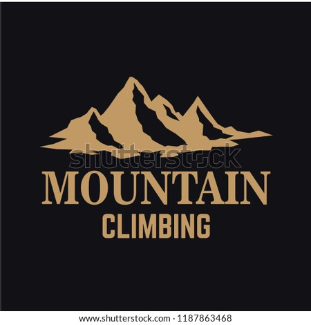 Mountain expedition. Emblem template with rock peak. Design element for logo, label, emblem, sign, poster. Vector illustration