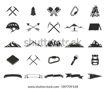 Mountain expedition silhouett icons set. Climb and camping shapes collection. Simple black pictograms. Use for creating logo, labels and other adventure designs. Vector isolated on white.
