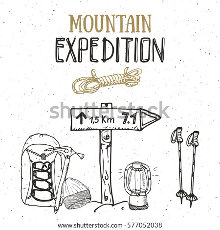 mountain expedition vintage set....