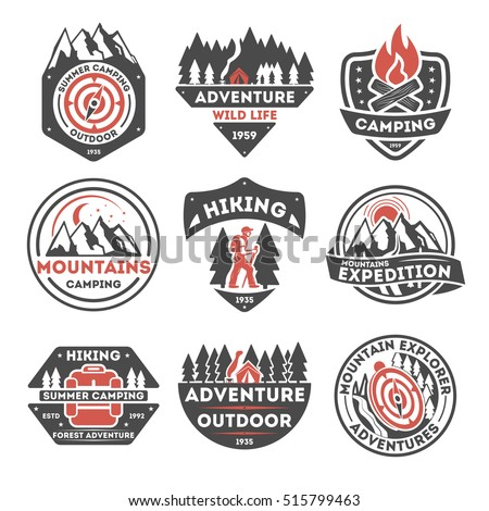 Mountain explorer logo vintage isolated label vector illustration. Family leisure emblem. Mountain expeditions logo. Wild life badges. Adventure outdoor resort and hiking logo.