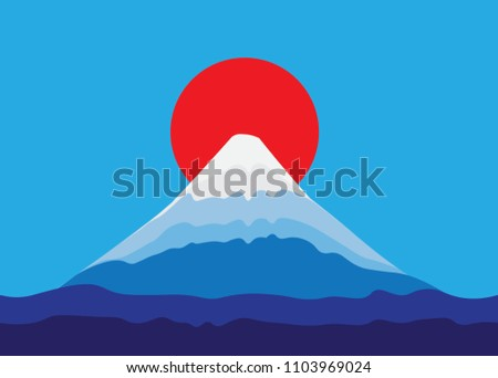 mountain fuji and red sun with
