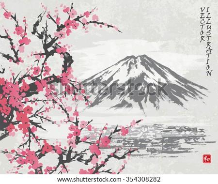 mountain fuji and spring