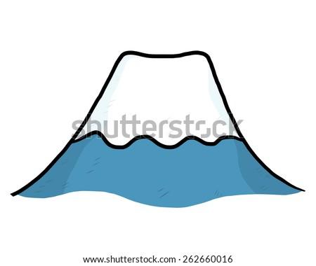 mountain fuji or volcano snow