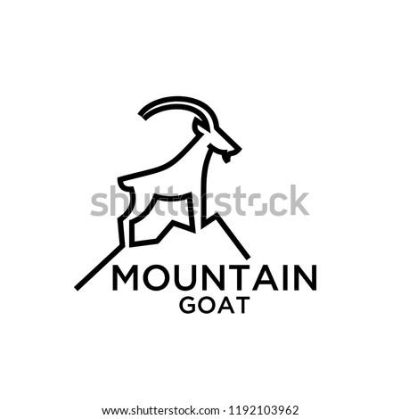 mountain goat line logo icon designs vector