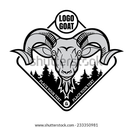 mountain goat - the symbol graphic stylization - logo template or mascots vector black and white - stock vector