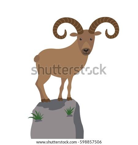 mountain goat vector illustration for children