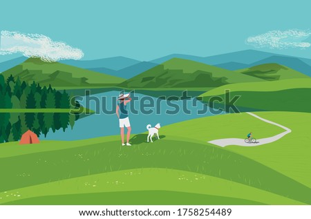 Mountain green valley lake landscape. Summer season scenic view poster. River side in mountains cartoon illustration. Adult couple with dog resting on wild nature . Vector outdoors banner background Stockfoto ©