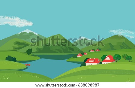 mountain green valley landscape