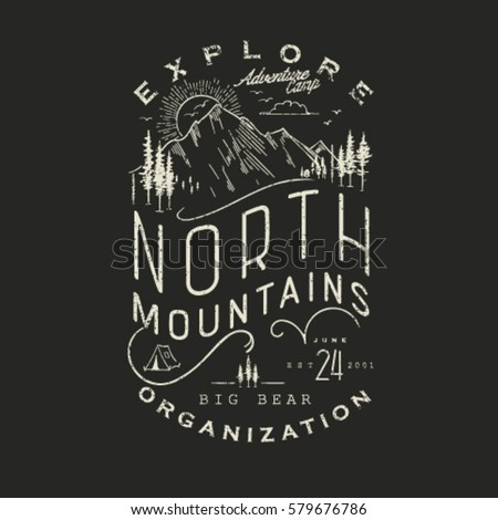 Mountain Hand Drawn Emblem Template. Outdoor activity symbol. Vector illustration.Vector mountain with texture.