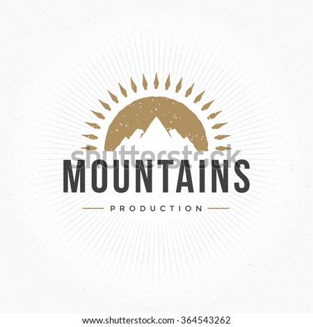 Mountain Hand Drawn Logo Template. Vector Design Element Vintage Style for Logotype, Label, Badge, Emblem. Mountain Logo, Hills Logo, Mountain Symbol, Mountain Icon, Retro Logo, Rock Climber Logo.