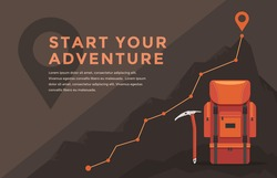 Mountain hiking and climbing Camping Travel. Start your adventure. Sports, adventures in nature, outdoor recreation. Vector illustration.