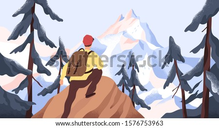 Mountain hiking flat vector illustration. Backpacker exploring wild nature. New horizons and goals concept. Man with backpack conquering peak in forest. Outdoor activity, discovery, exploration.