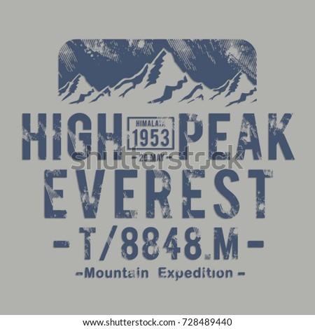Mountain Himalaya typography, tee shirt graphics, vectors