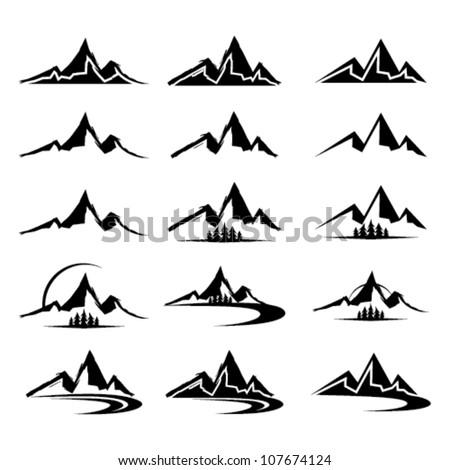 mountain icon clipart set