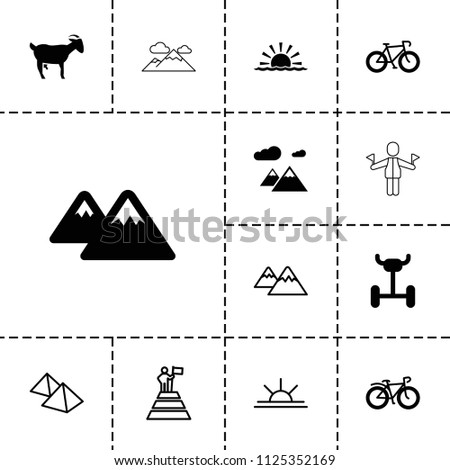 mountain icon collection of 13