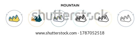 mountain icon in filled  thin