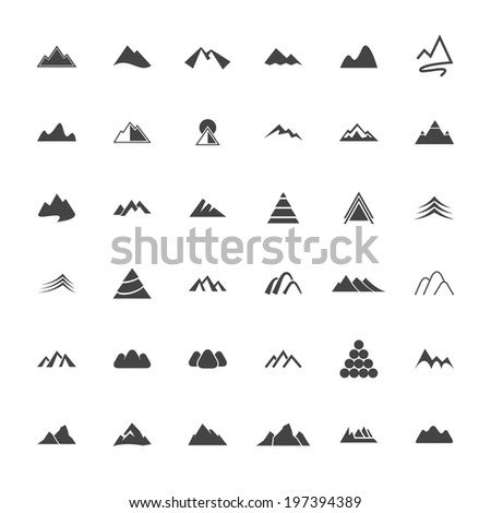 Mountain Icon Set - Vector Graphic