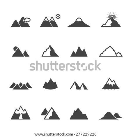 mountain icons  mono vector